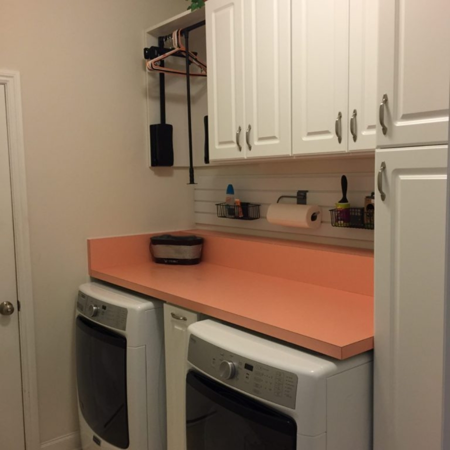 Laundry Room w/wall storage=clean countertops. Organized Home Remodeling, Columbus, Ohio.
